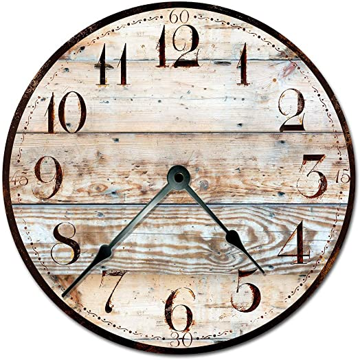 Sugar Vine Art 15.5 Xtra Large – Printed Photo Decal of Rustic TAN Wood Clock Decorative Round Wall Clock