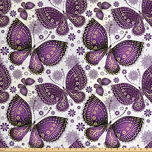 Ambesonne Natural Fabric by The Yard, Butterflies with Paisley Motif on Wings Flowers Art Print, Decorative Fabric for Upholstery and Home Accents, Plum Purple Lilac White ()