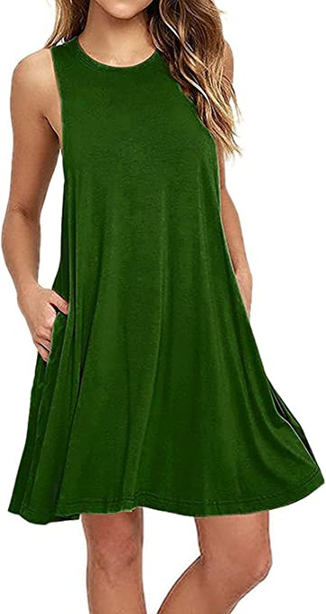TALLA X-large(EU 48). V-toto Vestidos de Mujer, Vestido de Camiseta, Manga Larga O-Cuello Vestido Casual Vestido Suave Vestido Suave y Estirado, Colores Lisos, Talla Grande, Dos Bolsillos ejercito verde X-large(EU 48)