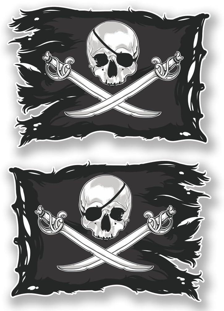 Jolly Roger #6621-2 x Pegatinas de Calavera, Adhesivo de Vinilo, para portátil, de Viaje, Equipaje, Coche, iPad.: Amazon.es: Coche y moto