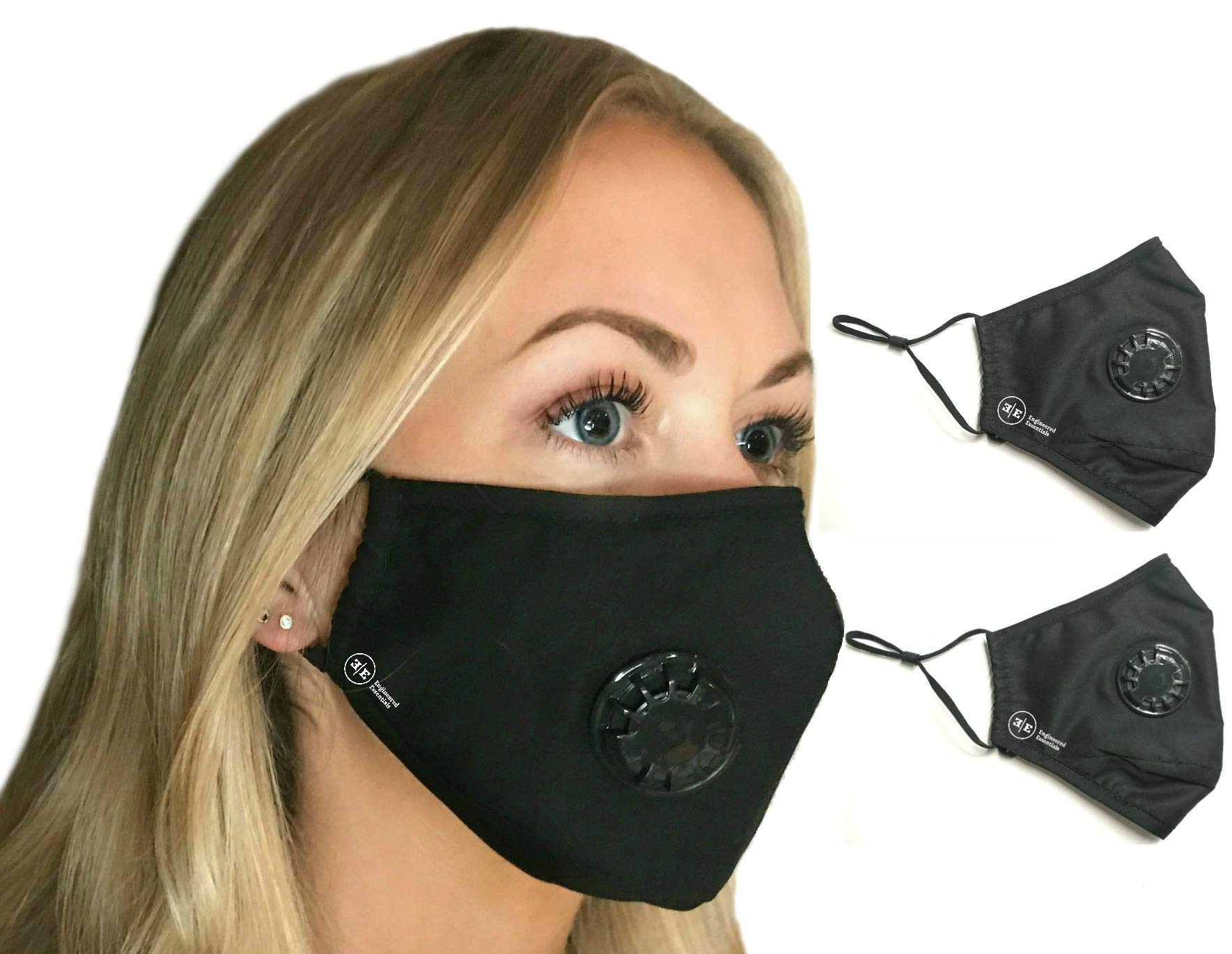 Pollution Mask Military Grade Anti Air Dust and Smoke Pollution Mask with Adjustable Straps and a Washable Respirator Mask Made For Men Women and Kids N99 N95 Mask … (2 Pack Black Mask)