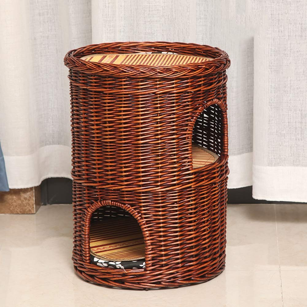 Brown doublelayerYANGYONGLI Pet Bed Dog Beds Sleeping Bag Cat Beds Pet House Rattan Summer Manual Environmental Predection Closed Double Layer,primarycolor,singlelayer