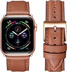 OMIU Square Bands Compatible for Apple Watch 38mm 40mm 42mm 44mm, Genuine Leather Replacement Band Compatible with Apple Watch Series 6/5/4/3/2/1, iWatch SE(Brown/Rose Gold Connector, 38mm 40mm)