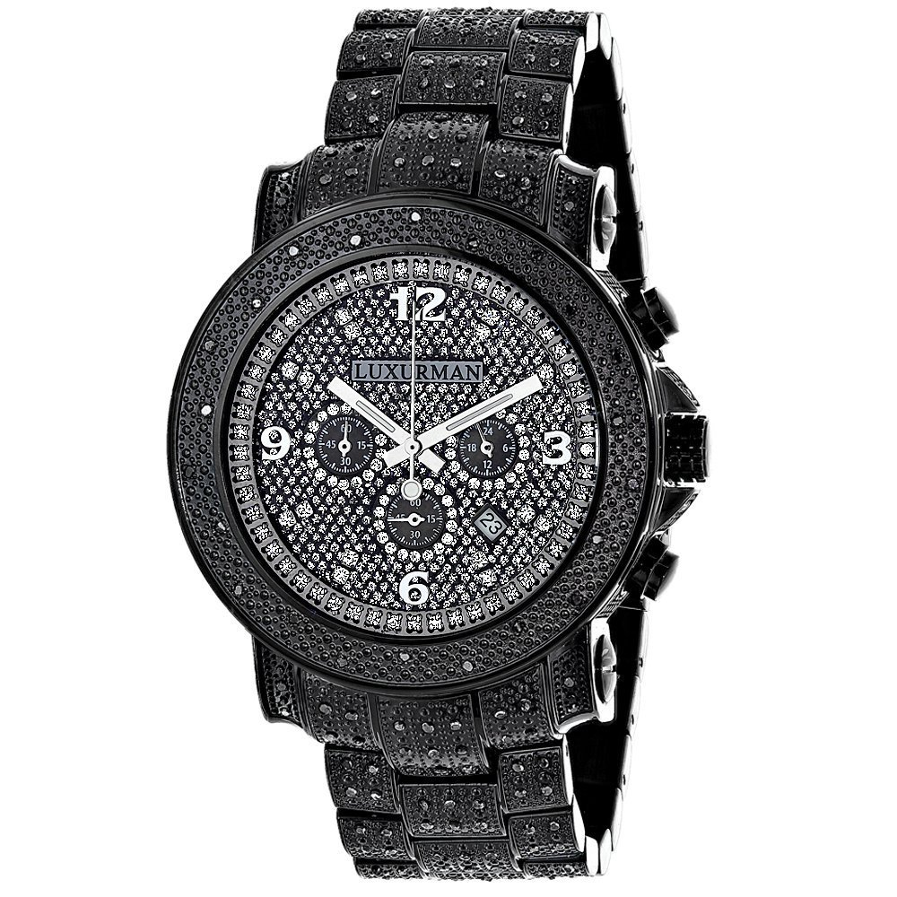 2f8a719be63 Amazon.com  Fully Paved Oversized Iced Out Black Diamond Mens Watch by 2ctw  of Diamonds by Luxurman  Watches