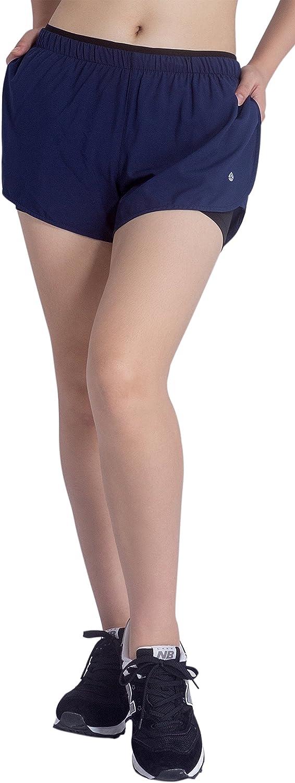 KomPrexx 2 in 1 Shorts Damen mit Taschen Innenhose Kurz Sporthose Laufshorts Sport Fitness Hosen