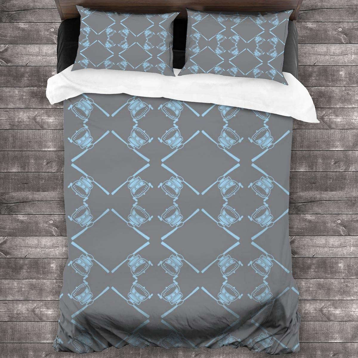 Darkess Bedding Set Black Hawk Baby Blue On Grey Soft Lightweight and Shrink Resistant Bedding Three-Piece