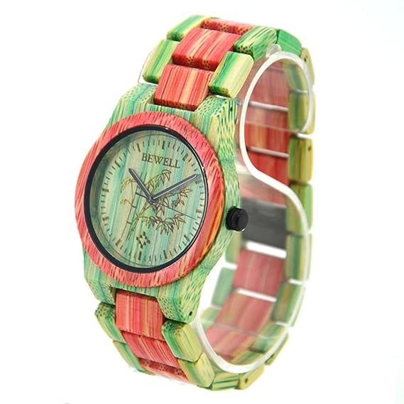 FunkyTop Mujeres de madera reloj 100% a mano natural bambú multicolores de cuarzo analógico Relojes, colores verde y rosa: Amazon.es: Relojes