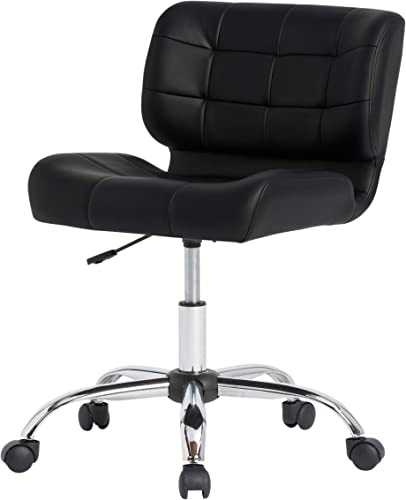 Calico Designs Modern Black Crest Armless Office Chair Swivel Task Chair Desk Chair Computer Chair, Black,