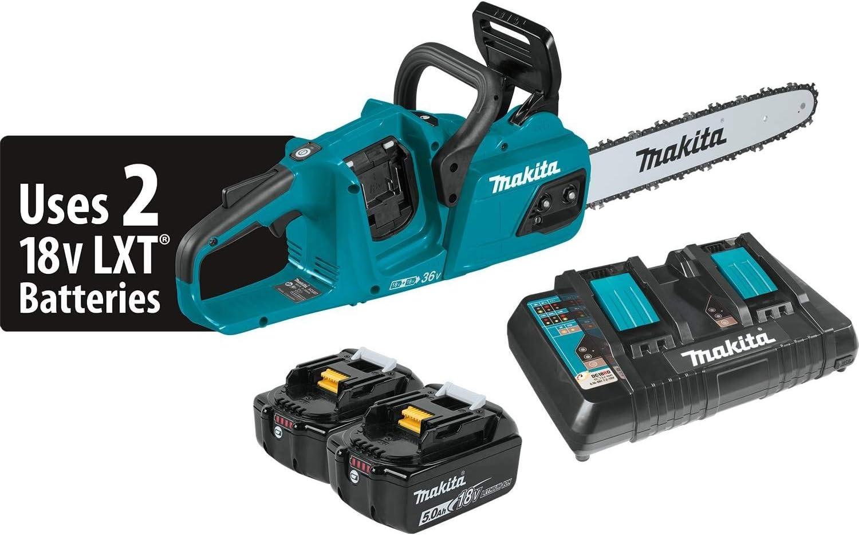 Makita XCU07PT 18V X2 36V LXT Lithium-Ion Brushless Cordless 5.0Ah 14 Chain Saw Kit, Teal