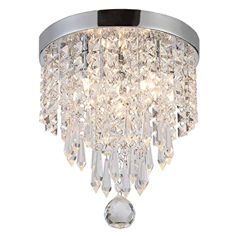Riomasee Crystal Ceiling Light Mini Chandelier Elegant Design Modern  Chandeliers 3-Light Flush Mount Fixtures for Bedroom,Hallway,Living ...