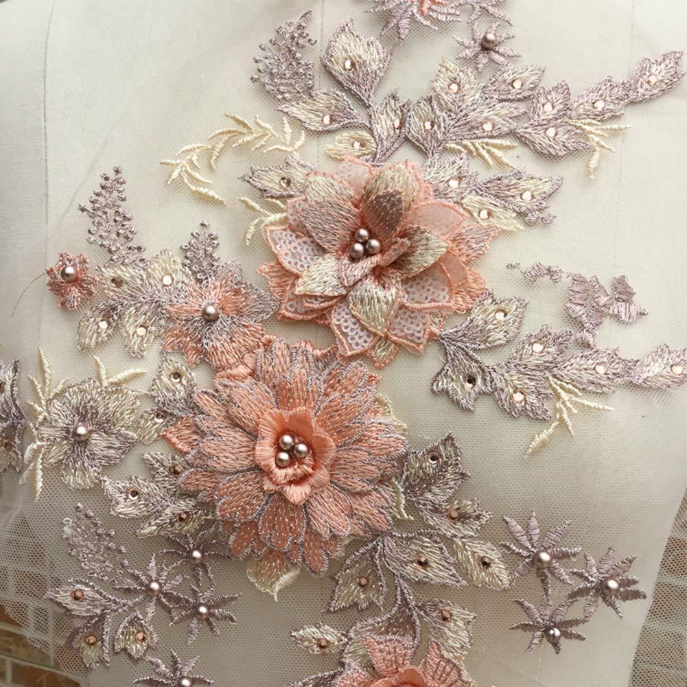 Armada Apliques de encaje Mujeres Escenario Fiesta de disfraces 3D Bordado Vestido de tul DIY Elegante Boda moldeada Nupcial Floral