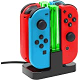 Joy Con Charging Dock for Nintendo Switch by TalkWorks | Docking Station Charges up to 4 Joy-Con Controllers Simultaneously -