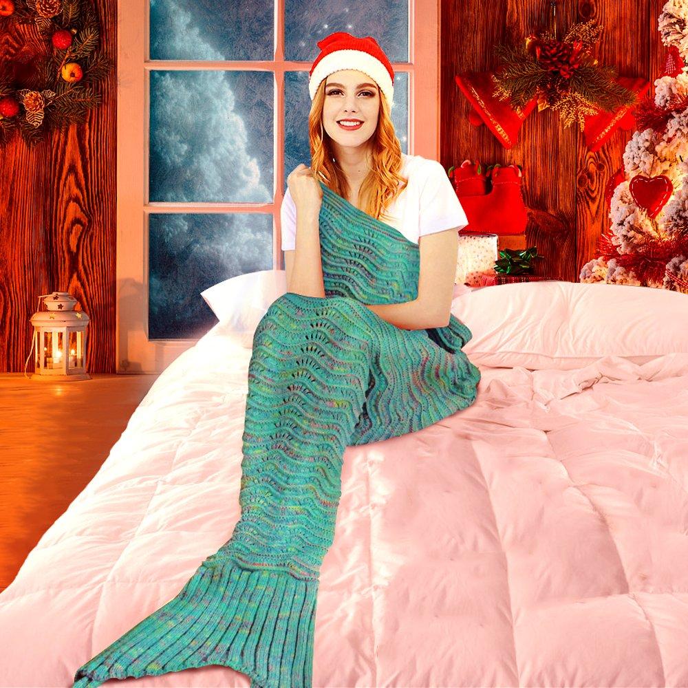 Fu Store Mermaid Tail Blanket Crochet Mermaid Blanket for Adult, Super Soft All Seasons Sofa Sleeping Blanket, Cool Birthday Wedding Christmas, 71 x 35 Inches, Mint Green by Fu Store (Image #6)