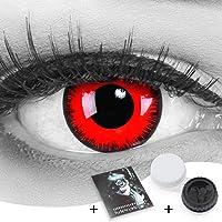 Farbige Kontaktlinsen Jahreslinsen Meralens 1 Paar rote schwarze Crazy Fun red lunatic .Topqualität zu Fasching Karneval Fastnacht Halloween mit Kontaktlinsenbehälter ohne Stärke