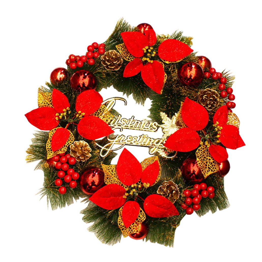 Christmas Wreath,Merry Christmas Decorated Pine Wreath, Artificial Garland Ornament Gifts for Christmas Party Decor, Front Door Wreath, Hotel, Plaza