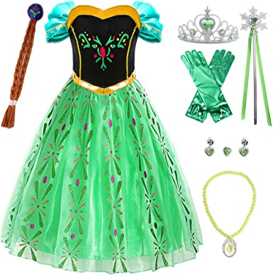 Princess Dress Up for Little Girls with Wig,Crown,Mace,Gloves Accessories Age of 3-12 Years