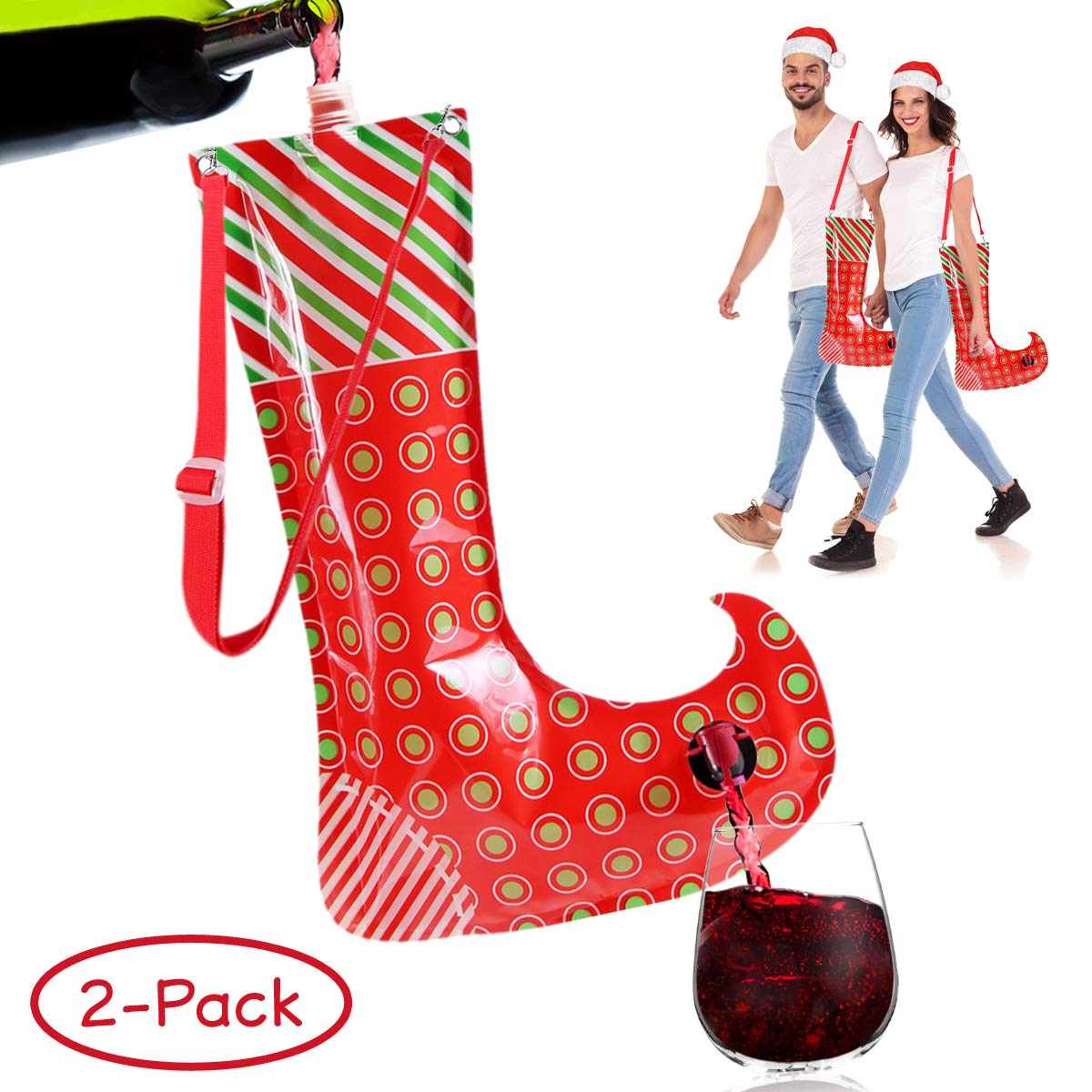 Christmas Stocking Flask Wine Dispenser- Large Party Sock w/Shoulder Strap (Holds 3 Bottles)- Funny White Elephant Gifts Under 25 Dollars- Christmas Gag Gifts- Dirty Santa, Yankee Swap, Secret Santa