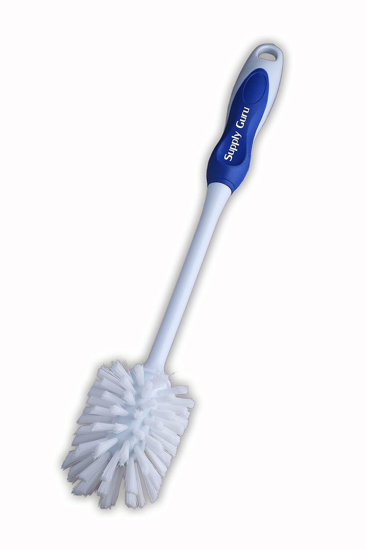 "Supply Guru Good Comfort Grip Plastic Nail Stiff Bristles Bottle Brush 3/4"" Long Bristles, 14"" Long with a Natural Finish"
