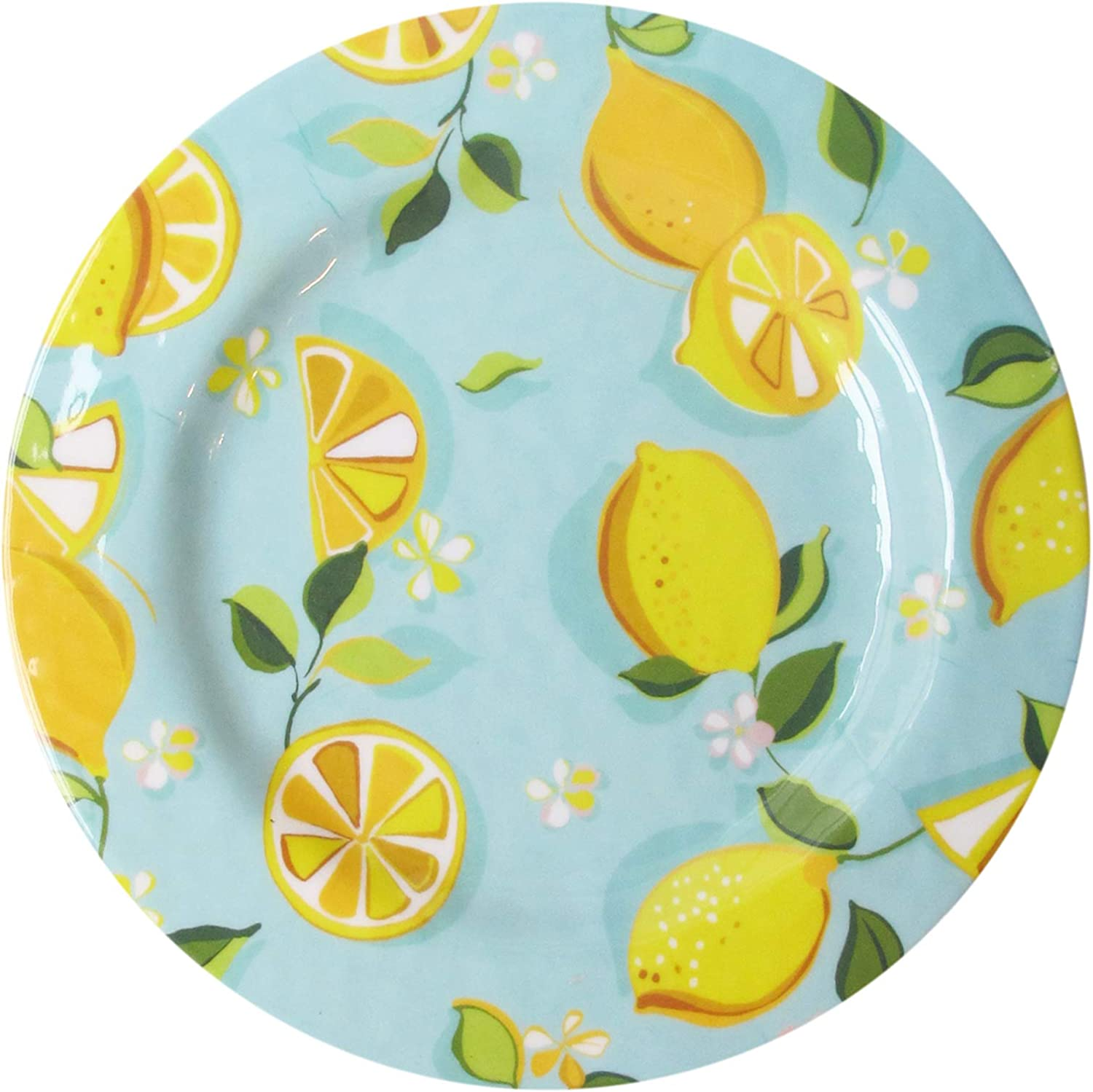 Trina Turk Melamine Set of 4 Dinner Plates Unbreakable, Lightweight Indoor & Outdoor Dinnerware Set for Home Entertaining, Barbecues, Picnics, Parties & Camping-BPA-Free, Lemons