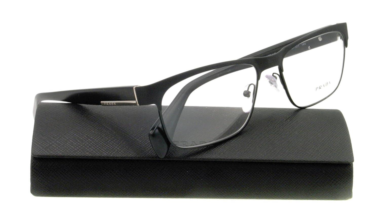 Amazon.com: PRADA Eyeglasses VPR 61P MATTE GRAY FAD-1O1 VPR61P ...