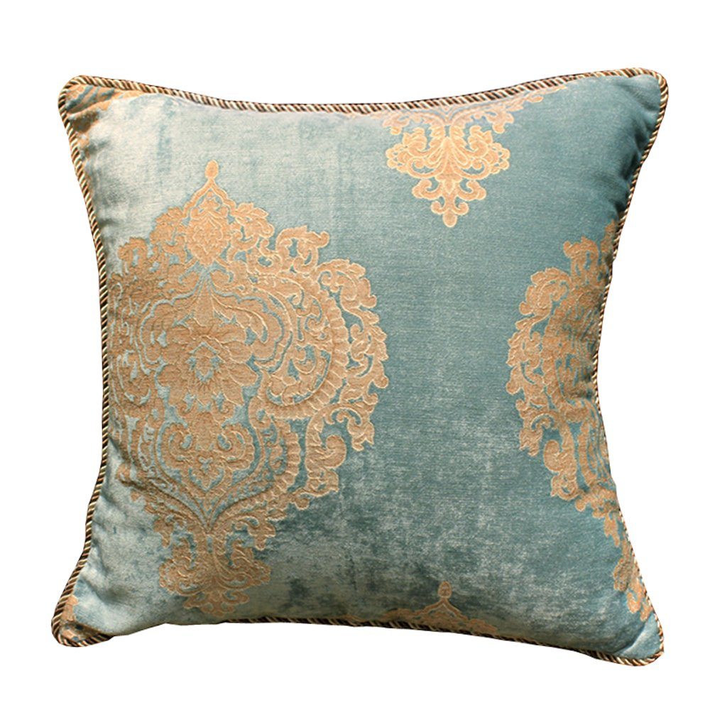 M MOCHOHOME Decorative Classical Chenille Square Euro Floral Throw Pillow Cover Case Pillowcase Flower Cushion Sham - 24'' x 24'', Pale Turquoise by M MOCHOHOME