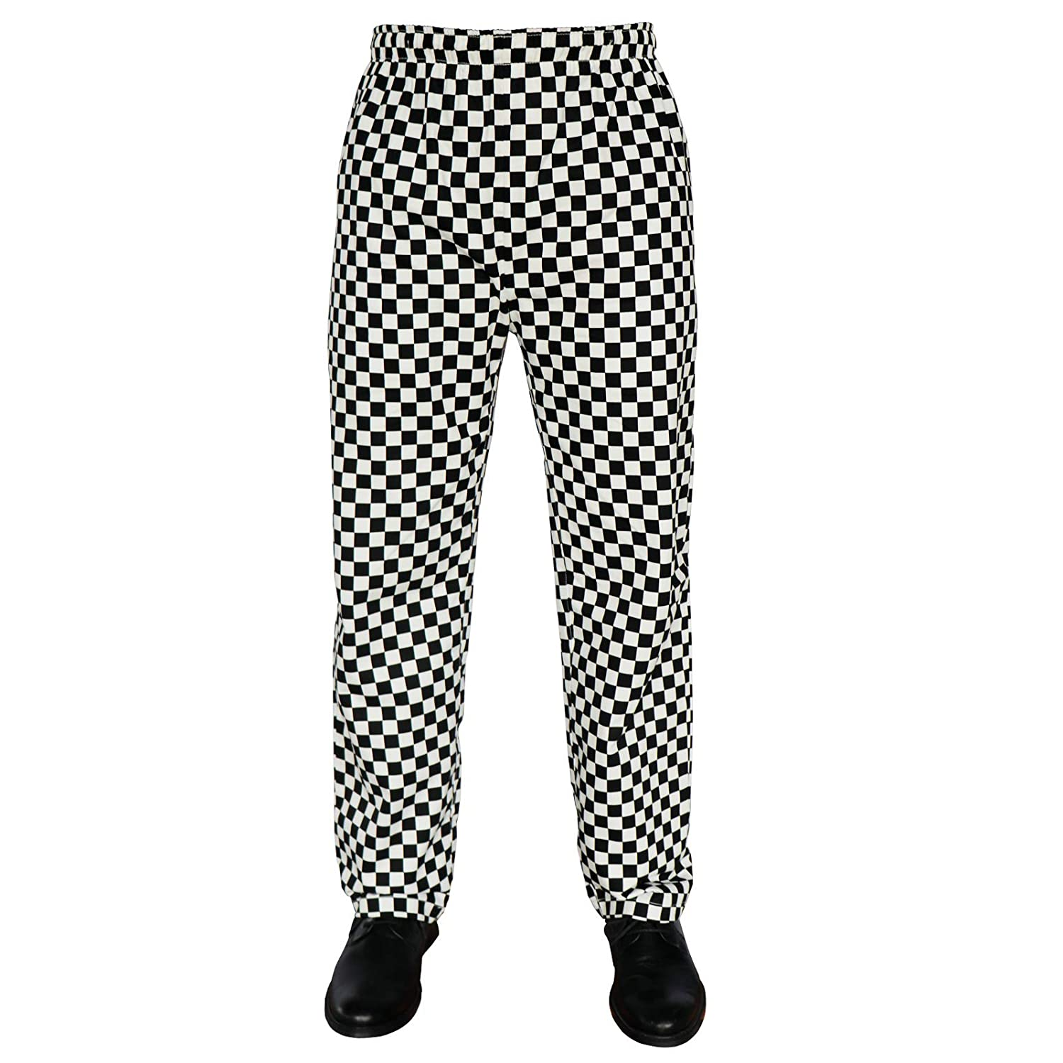 PH Chess Board Trousers Black & White Check Excellent Quality Elasticated Waist Unisex Design Check Trousers