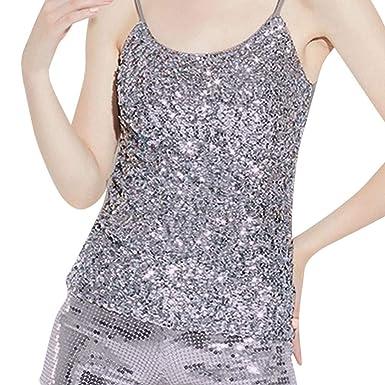 5c7b0fe084048 Moonuy Femmes Sexy Paillettes Gilet Bretelles Sling Bottoming Shirt  Chemisier Hauts Tops Sling Sangle Spaghetti Gilet