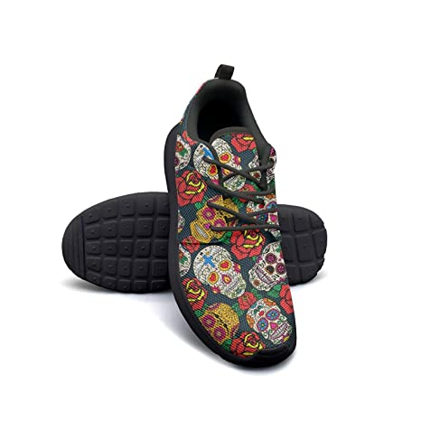 27a0f7c6fa373 Amazon.com: YSLC Roses and Skulls Running Shoes Lightweight for ...