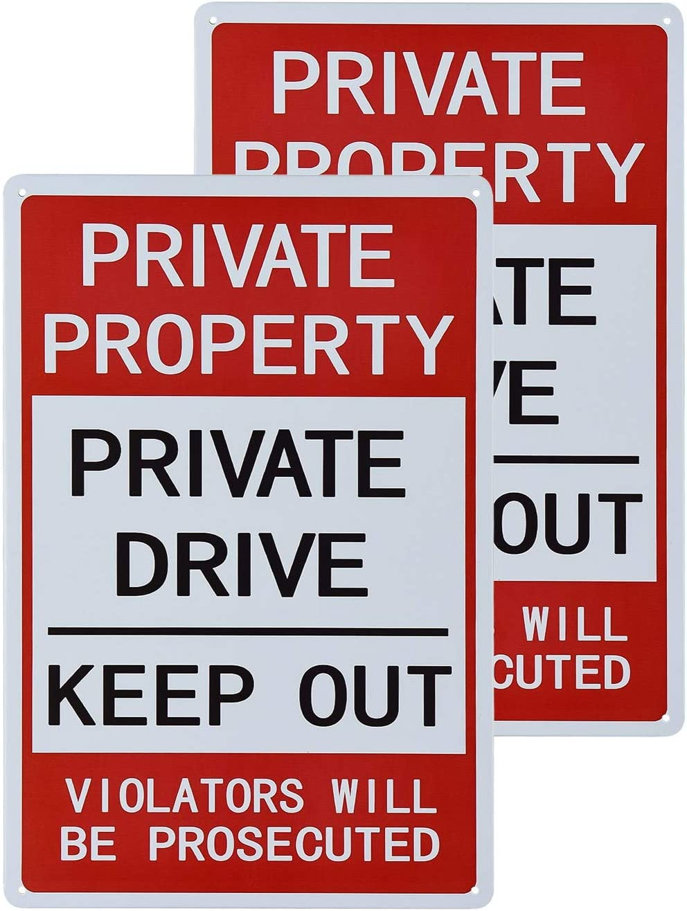 dojune-2 Pack No Trespassing Signs Private Property, Keep Out Warning Metal Yard Signs, Vintage Sign for Garden Outdoor Indoor Gates