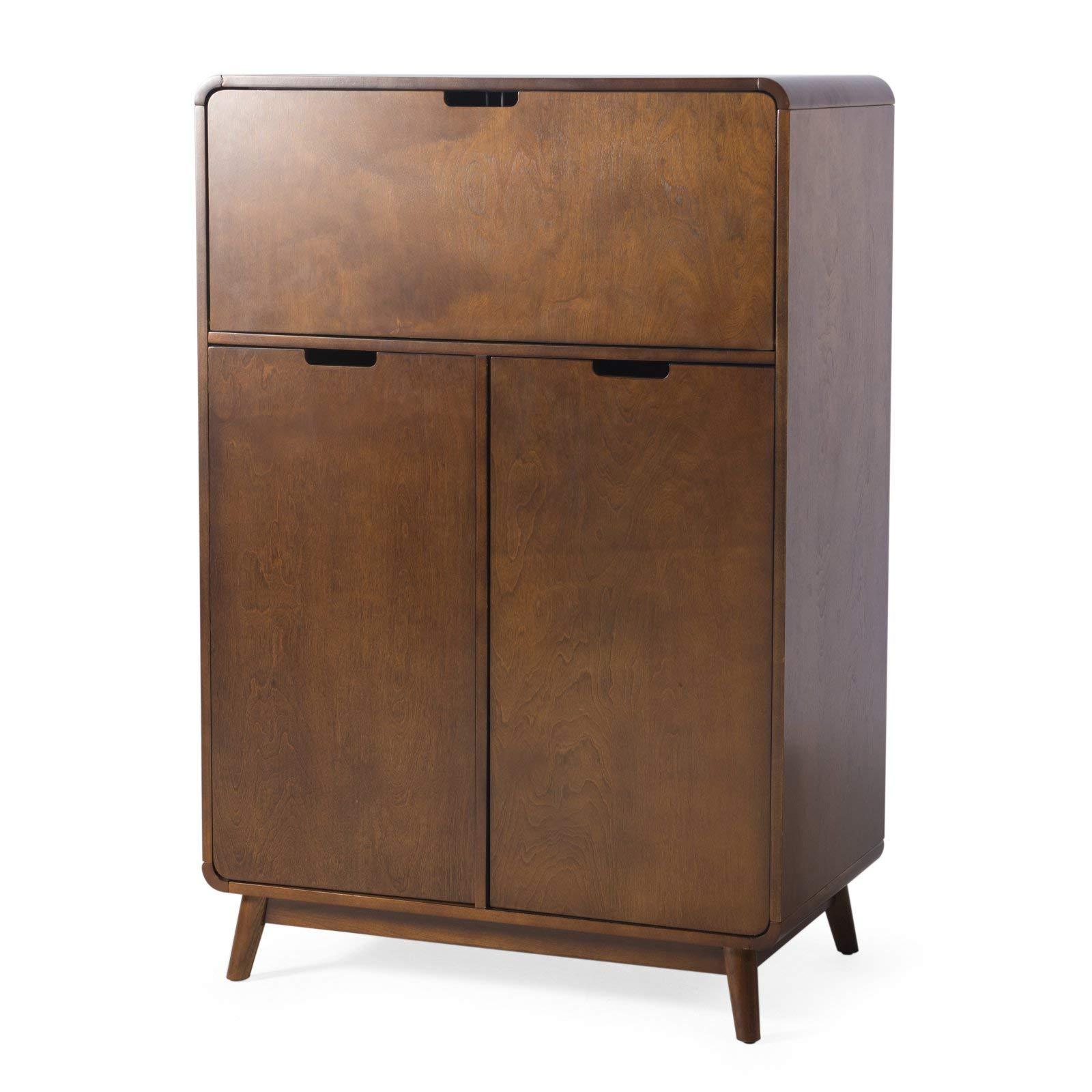 Rich Walnut Finish Wood Mid Century Modern Home Bar Cabinet Liquor Cabinet with Wine Racks by Home Collection