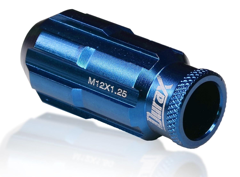 ホイールナット Durax デュラックス 20個セット P1.25 M12 アルミ製 ロング 貫通 ブルー 青 B00OCEIIAY