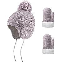Gorro de invierno y manoplas de forro polar de punto para niños con orejera, guantes de forro polar cálido