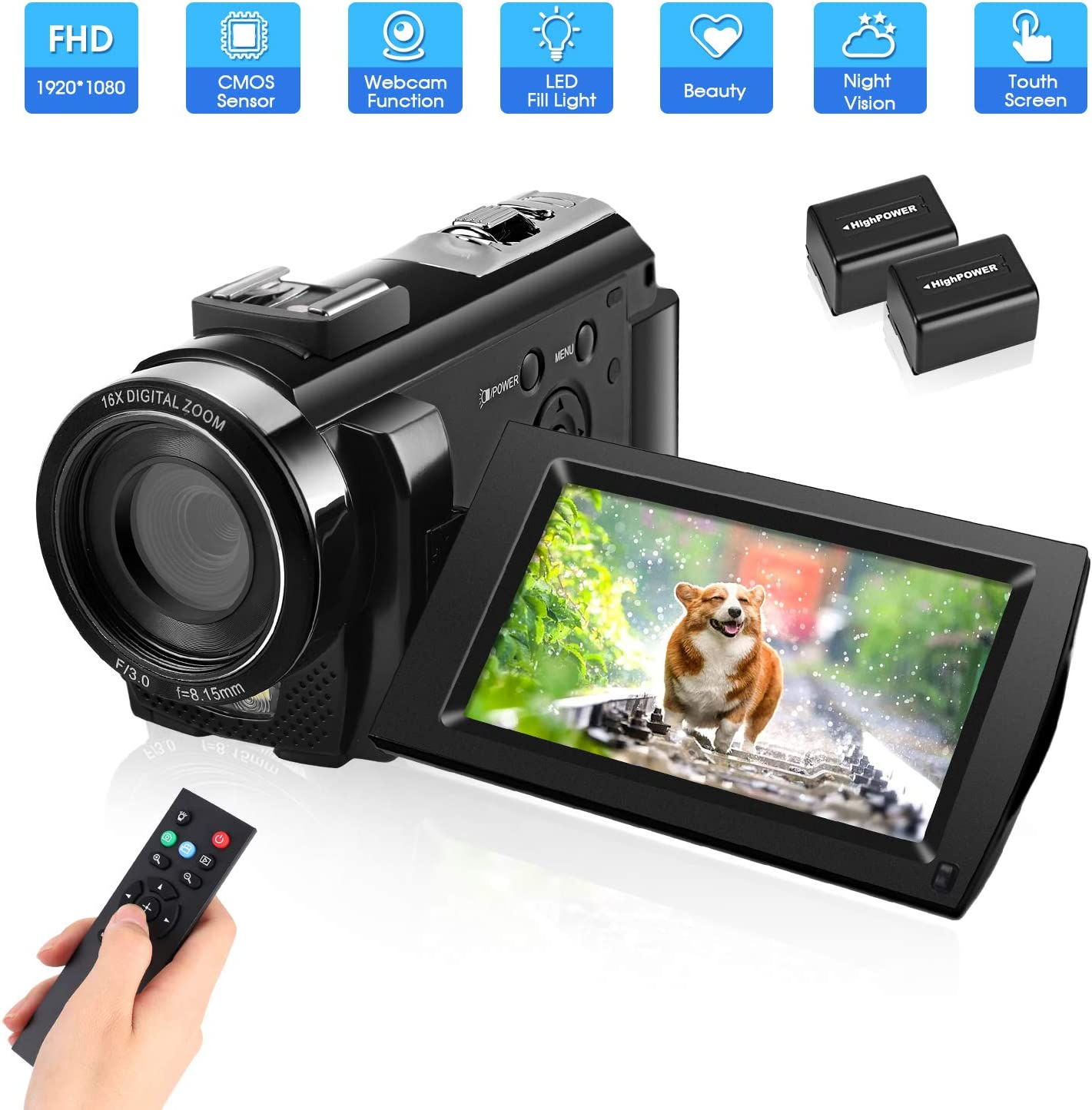Video Camera Camcorder with 32GB Card Full HD 1080P 30FPS 16X Digital Zoom Digital Camera Vlogging Camera for YouTube 3.0 Inch LCD 270 Degrees IPS Screen LED with 2 Batteries
