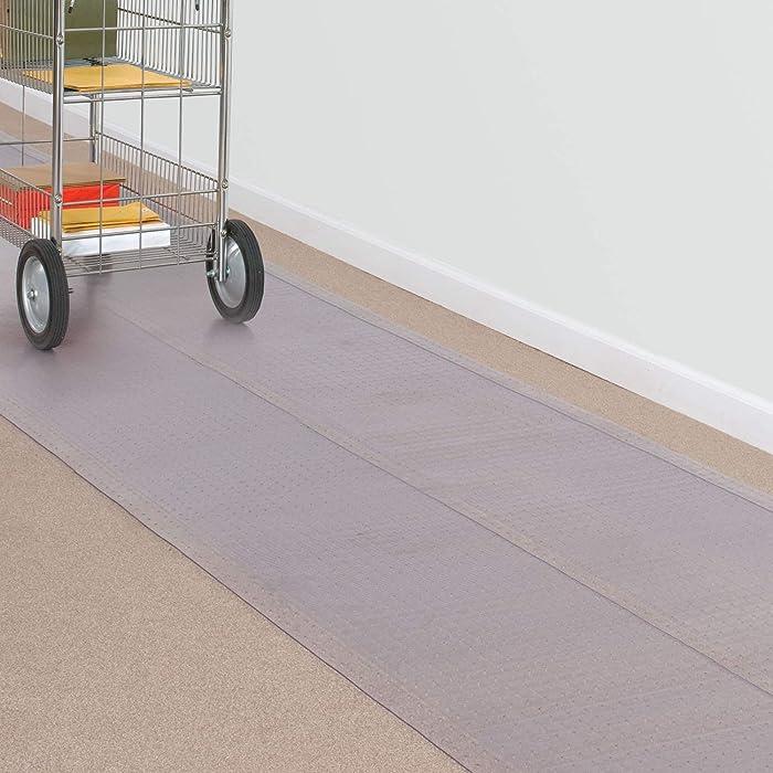 "ES Robbins 184013 Ribbed Carpet Vinyl Runner, 27"" x 10', Clear"