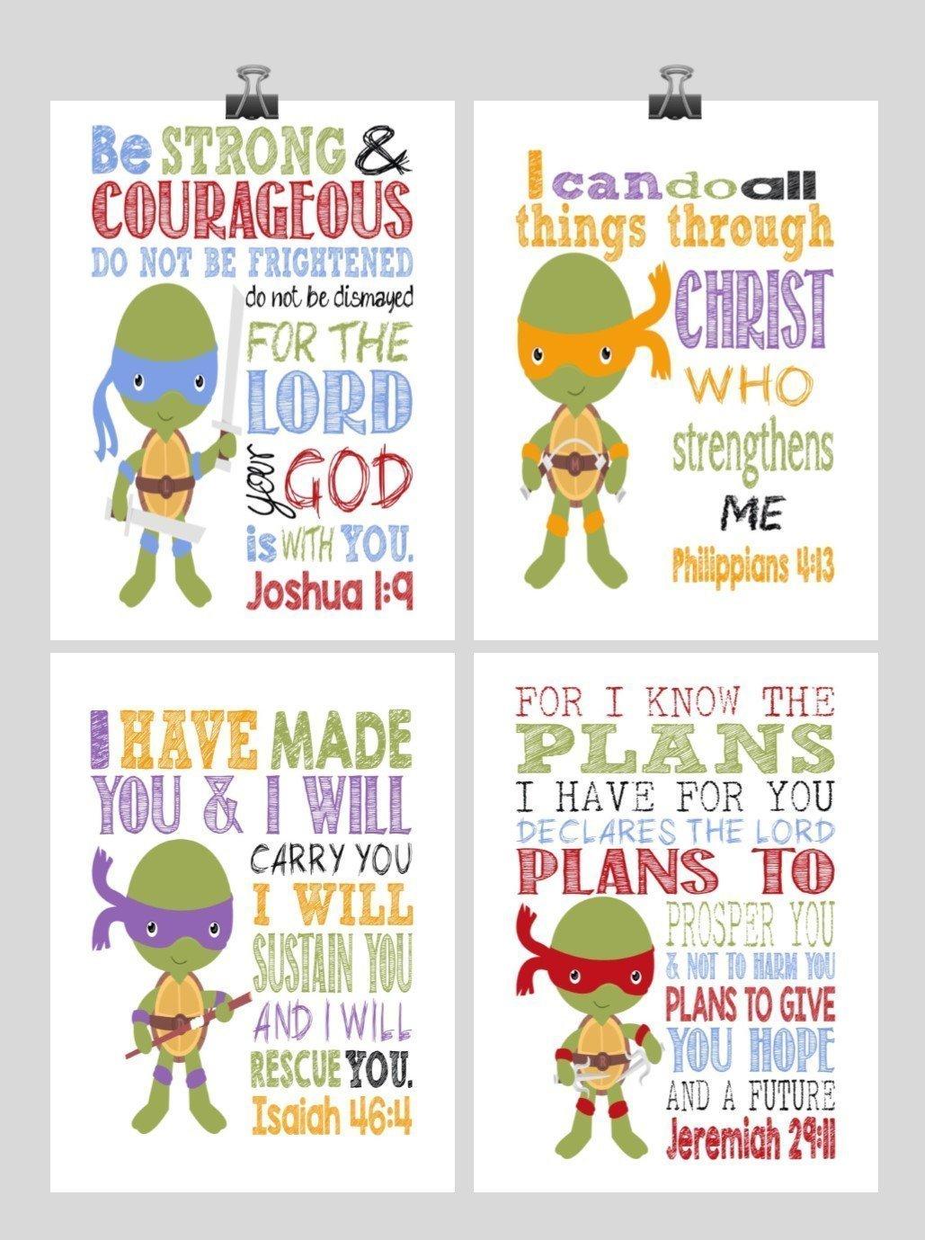 Christian TMNT Nursery Decor Art Print Set of 4 - Raphael, Michaelangelo, Donatello and Leonardo - Multiple Sizes
