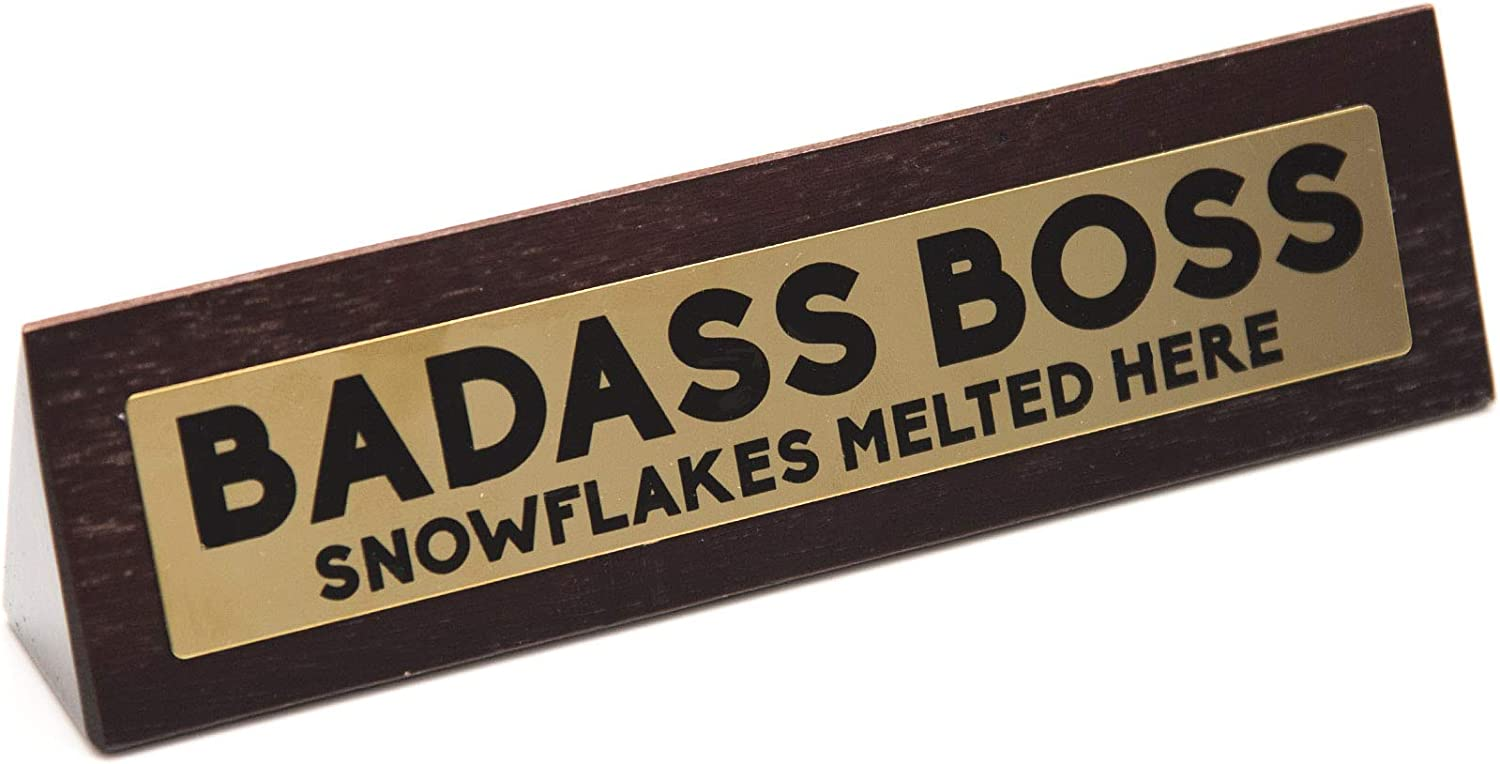 Boxer Gifts 'Badass Boss' Novelty Wooden Desk Warning Sign | Funny Office Humor Gift For Colleague Or Boss | 4.5cm x 17.5cm