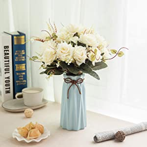 Flojery Artificial Flowers with Ceramic Vase,Fake Silk Rose Bouquet in Vase for Home Office Wedding Decor(Iovry with Blue Vase)