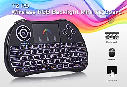 0fea68cdedc Tekit Mini Wireless Keyboard 2.4GHz Air Mouse with RGB Backlit Remote  Control Touchpad ,Wireless