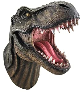 DWK - Jurassic King T-Rex Tyrannosaurus Rex Dinosaur Wall Mounted Head Statue Bust - 15 Inches Long