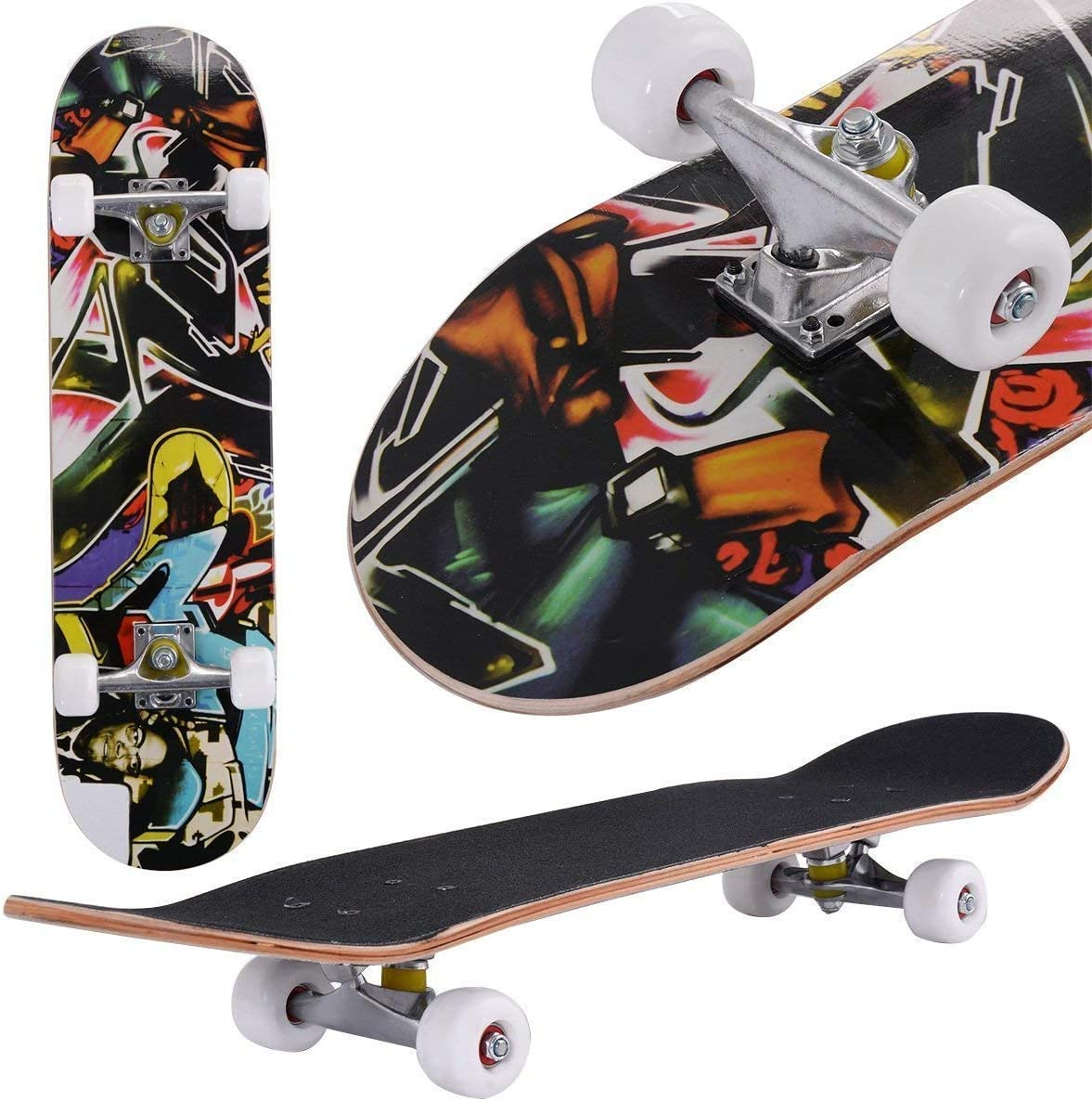 Aceshin Skateboard, 31 x 8 Complete PRO Skateboard, 9 Layer Canadian Maple Wood Double Kick Tricks Skate Board Concave Design for Beginner,Gift for Kids Boys Girls Youths