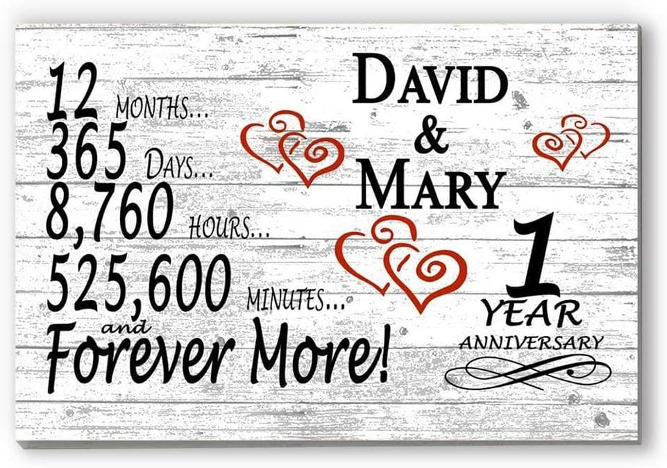 Amazon Com Broad Bay Personalized 1 Year Anniversary Sign Gift First Wedding Anniversary 1st For Couple Him Or Her Days Minutes Years Furniture Decor