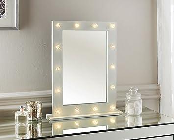 White 14 Led Light Vanity Mirror Bedroom Bathroom Dressing Table 50x40 & White 14 Led Light Vanity Mirror Bedroom Bathroom Dressing Table ...