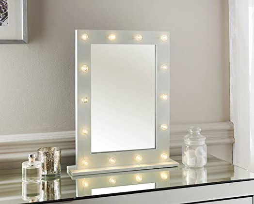 white vanity mirror with lights. white vanity mirror with lights  hollywood 14 led light bedroom bathroom dressing White Vanity Mirror With Lights Led For Wooden Make