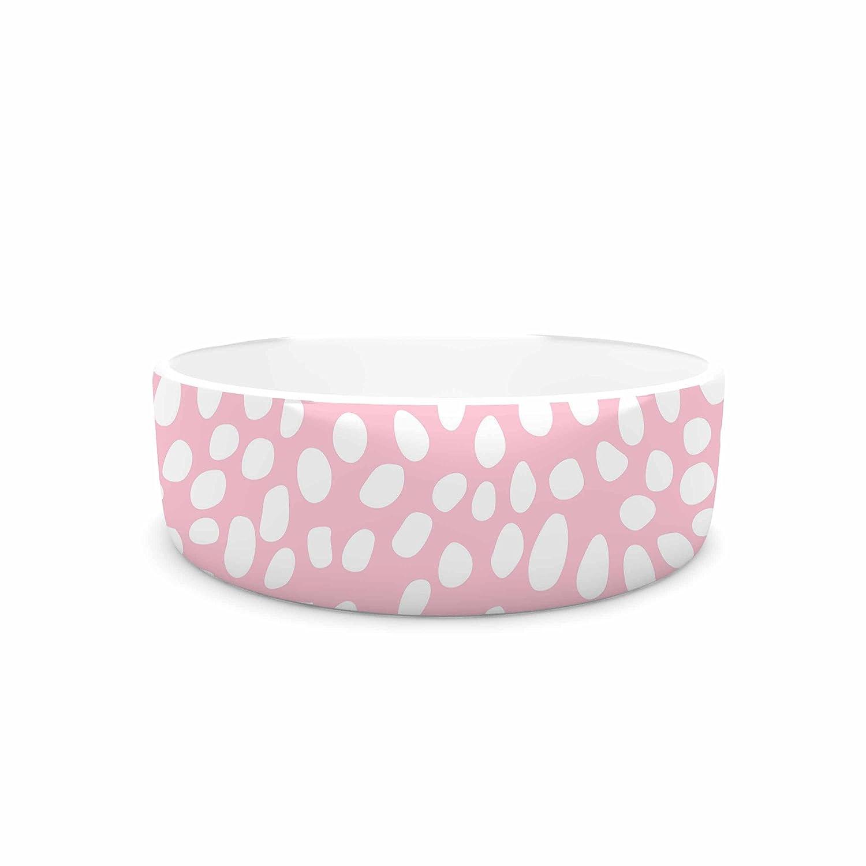 KESS InHouse Wildlife Pink Animal Print 4  White Digital Pet Bowl, 7