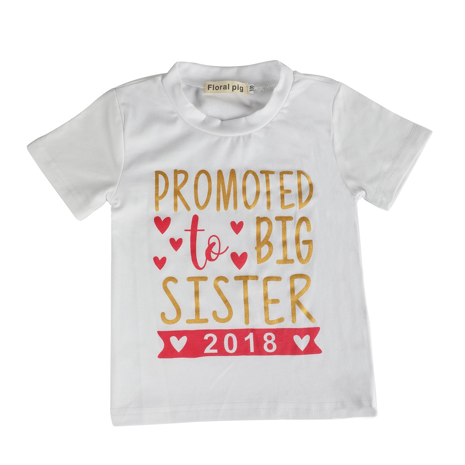 Kingte Toddler Big Sister Outfits Promoted to Big Sister Letter Print Short Sleeve Shirt White