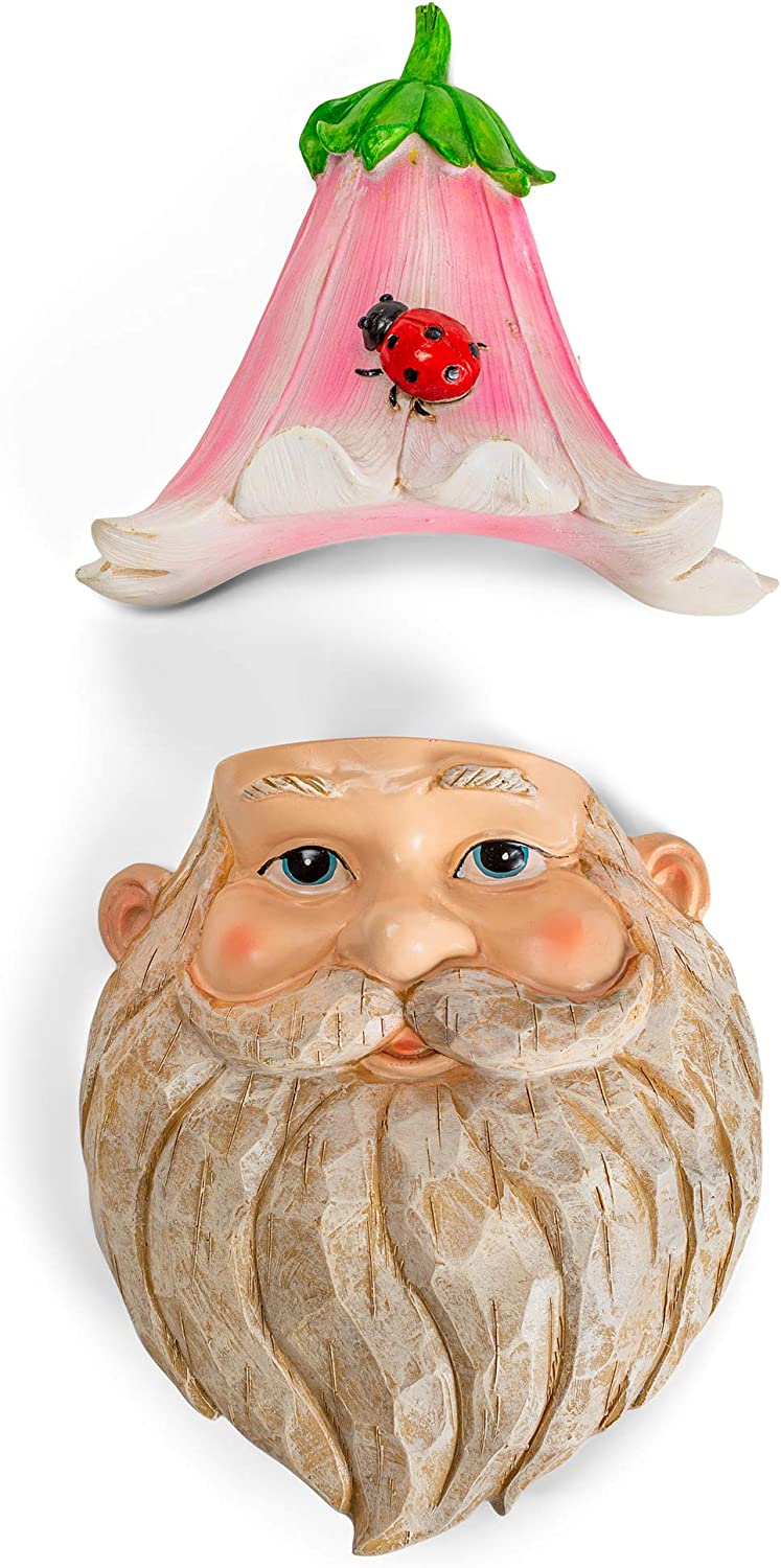 Red Carpet Studios Outdoor Resin Garden Gnome Tree Face, 13.39 Inches, Pink Flower Hat Gnome