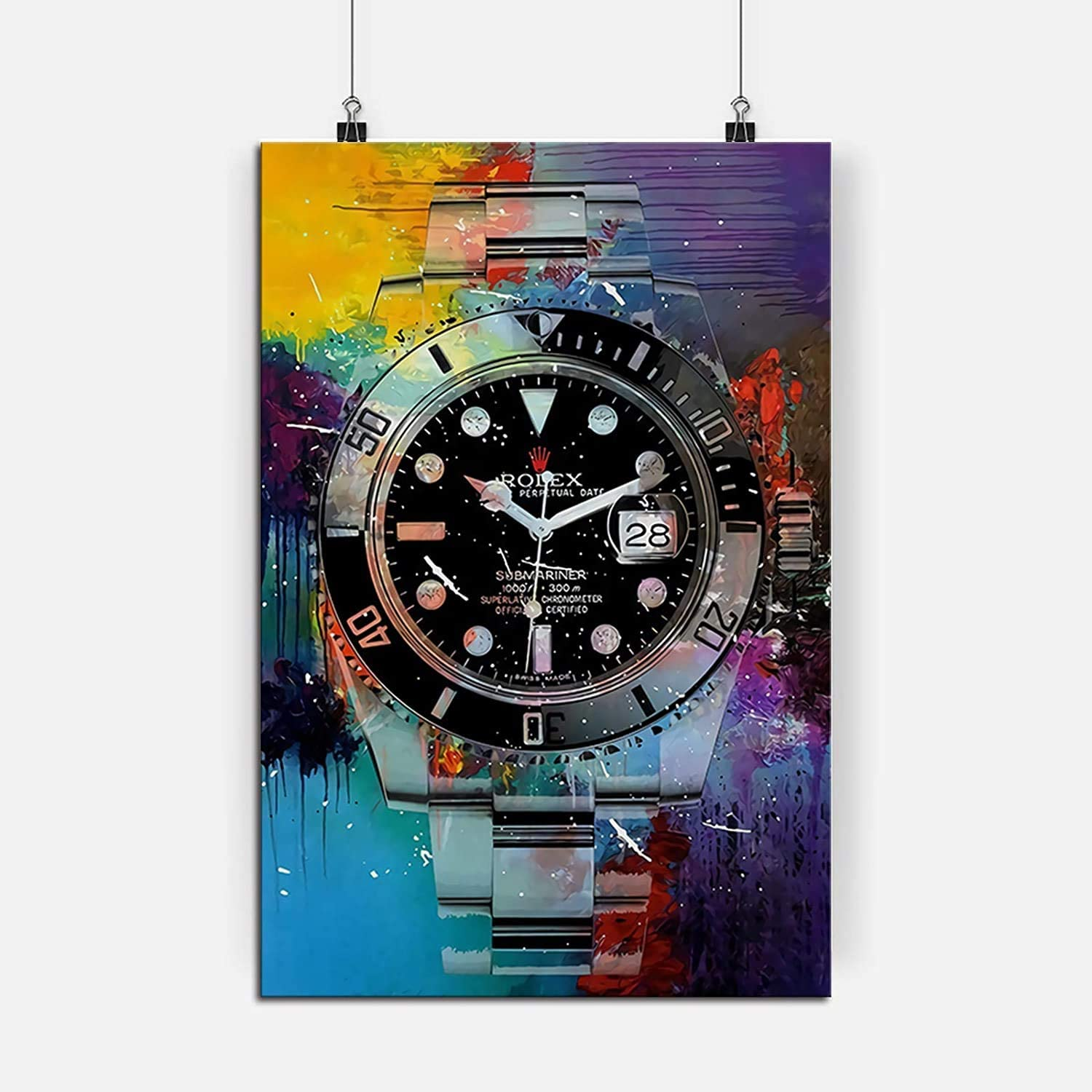 RINWUNS Canvas Wall Art Perpetual Time, Poster Colorful Watch Painting Motivational Prints on Canvas Giclee Modern Home Decor No Frame Picture for Living Room Bedroom Office - 12x16in 1PC (Only Canvas)