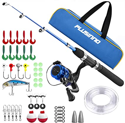 Amazon Com Kids Fishing Pole Light And Portable Telescopic Fishing Rod And Reel Combos For Youth Fishing By Plusinno Sports Outdoors