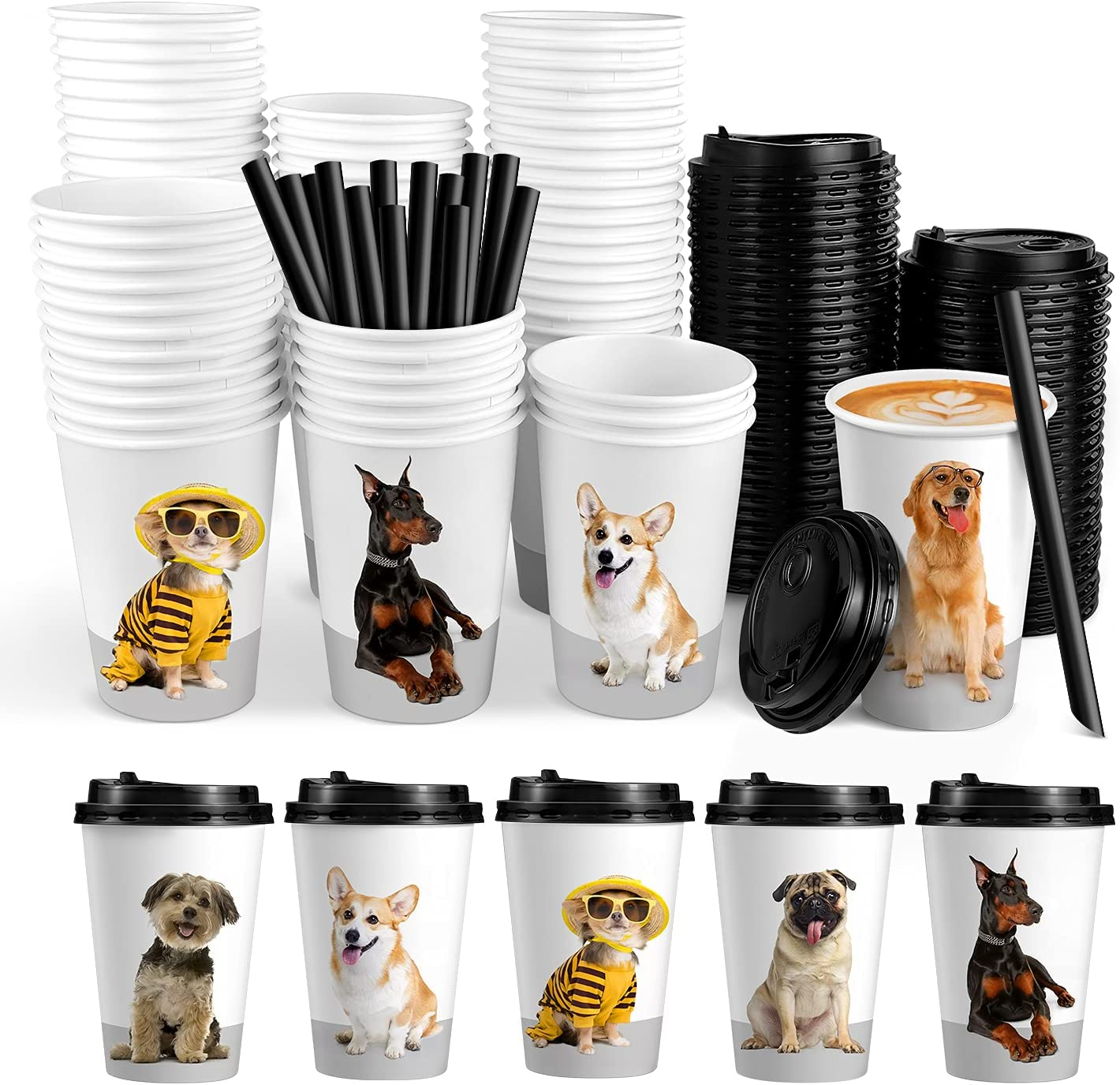 72 Sets Disposable Coffee Cups with Lids, White To Go Paper Cups, Hot Drink Cups with Lids & Straws for Office Parties Home Travel - Dog Puppy Pet Theme Design