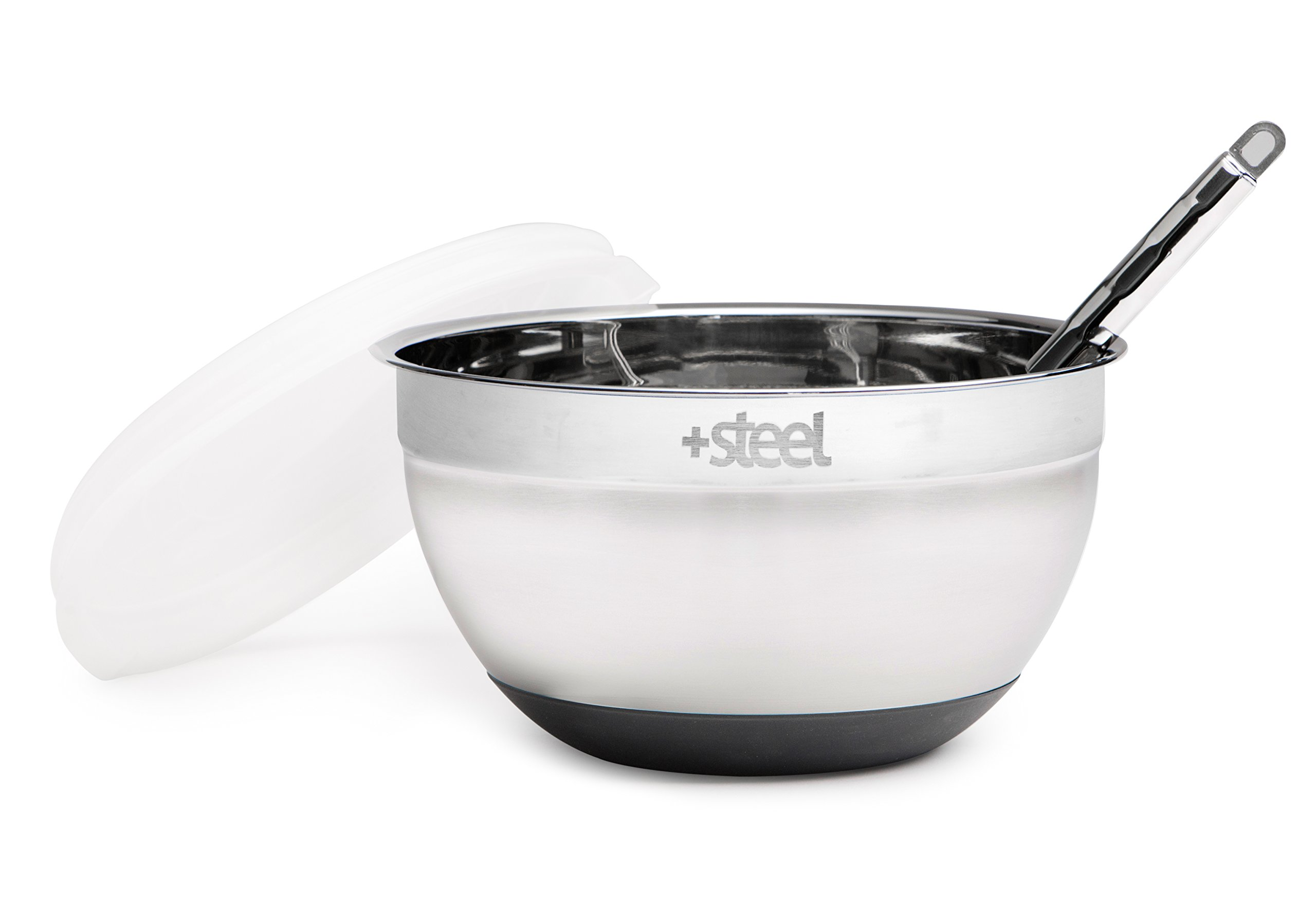 +Steel Stainless Steel Non-Slip Mixing Bowl Set of 4 with Lids and Whisk by +Steel (Image #2)